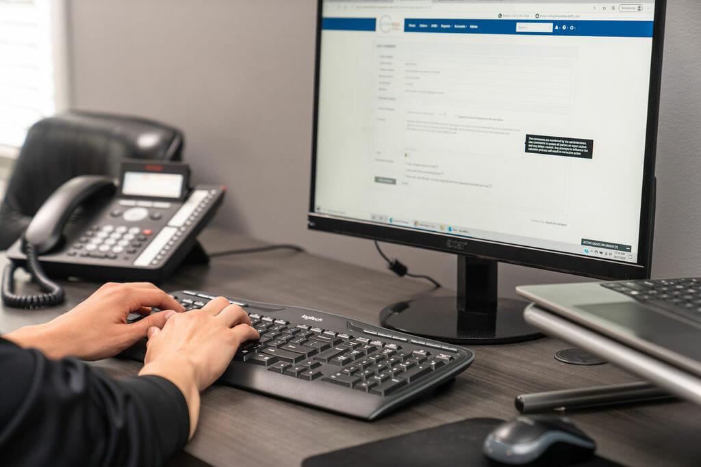 typing at Desktop computer